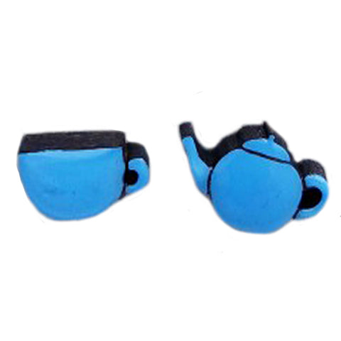 bok bok b'gerk earrings 'cup of tea' blue