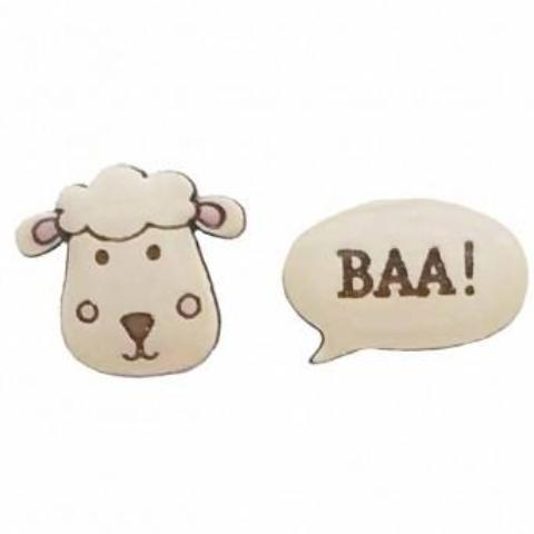 bok bok b'gerk earrings 'sheep baa'