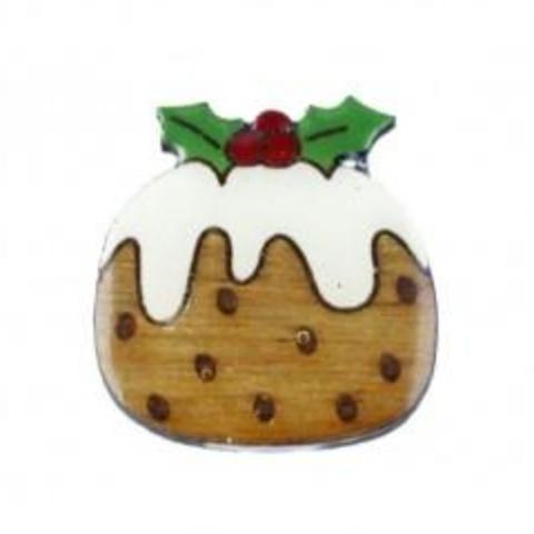 bok bok b'gerk lapel pin 'christmas pudding'