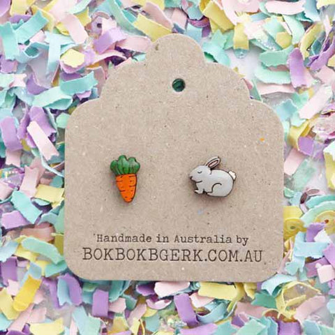 bok bok b'gerk earrings 'rabbit & carrot'