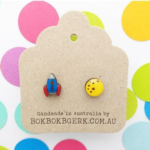 bok bok b'gerk earrings 'rocket & moon'