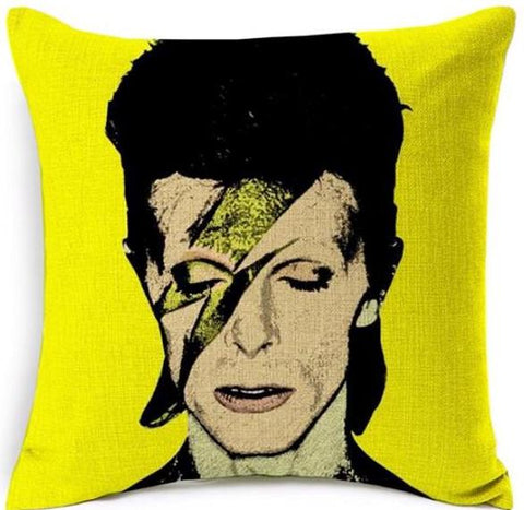 cushion cover 'pop art bowie' yellow
