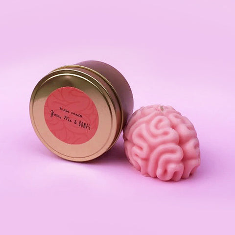you, me & bones candle 'brain in tin' pink