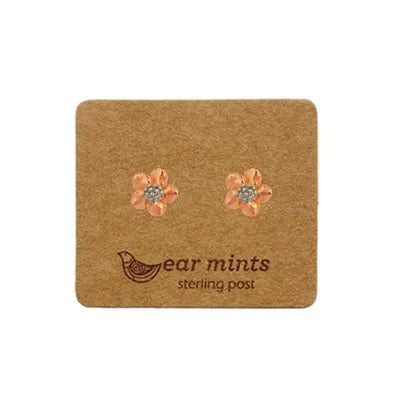 mints earrings 'brushed 2 tone flower' rose gold