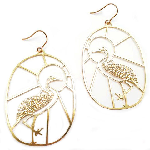 denz & co. earrings 'brolga dangles' gold