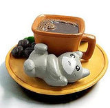 miniature 'kawaii dessert cat' brown mug