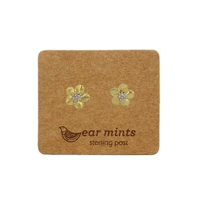 mints earrings 'brushed 2 tone flowers' gold