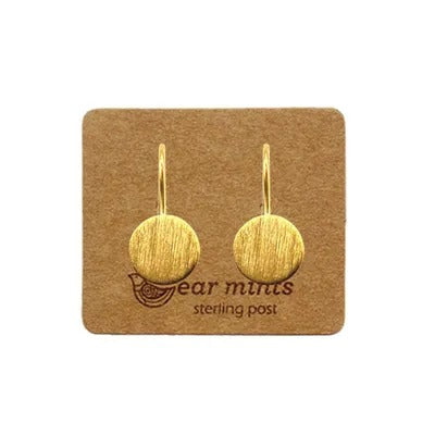 mints earrings 'brushed disc hooks' gold