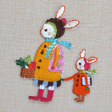 embroidered sew-on patch 'bunny mum' set