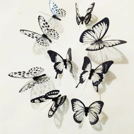 wall sticker '3D butterflies black & white glitter' 12 pack - the-tangerine-fox