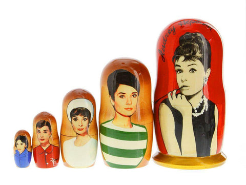 russian matryoshka dolls 'audrey hepburn' 5 set small