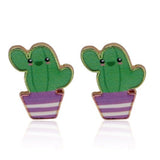 sugar earrings enamel 'cactus in purple pot' studs
