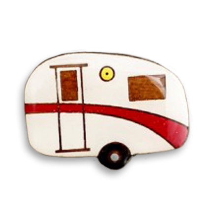 bok bok b'gerk lapel pin 'caravan' red
