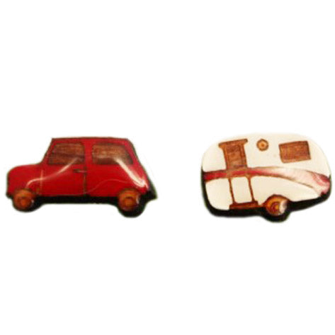 bok bok b'gerk earrings 'car & van' red - the-tangerine-fox