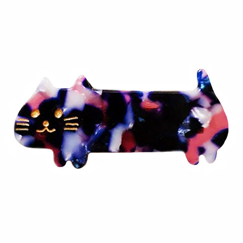 hair barrette 'cat' navy & pink