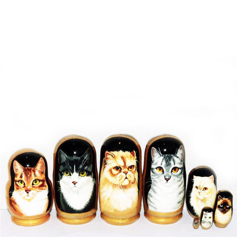 russian babushka dolls 5 set 'cats' small