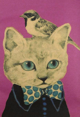 poster print 'vintage cat & little birdy bow tie' A4