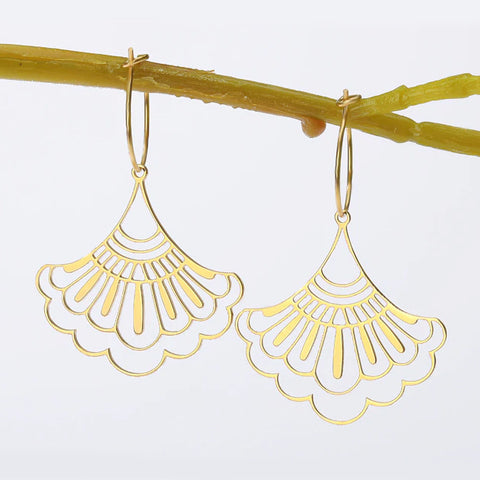 sugar earrings 'hollow chinese fan hoops' gold