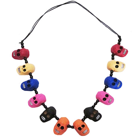 mexican necklace 'clay day of the dead skulls'