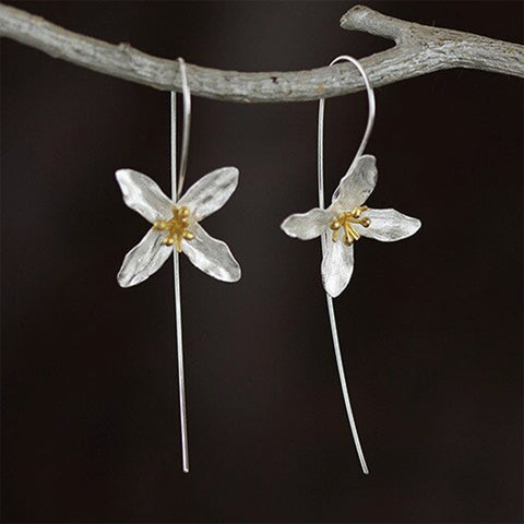 sugar earrings silver 'vintage clover flower drops' silver & gold