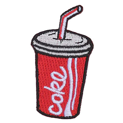 embroidered patch 'coke cup with straw'
