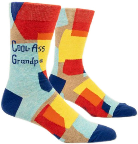 blue q men's socks 'cool-ass grandpa'