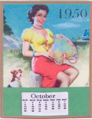 miniature 'retro 1950's girl calendar'