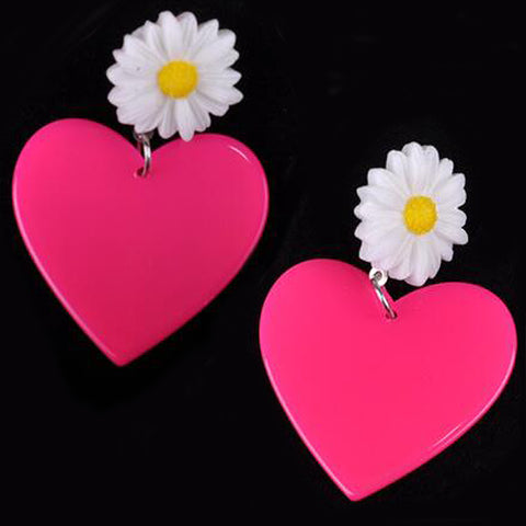sugar earrings 'heart & daisy drops' dark pink