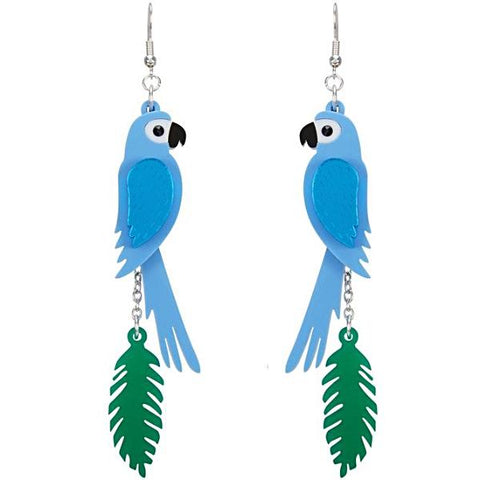 little moose earrings 'parrot leaf' blue