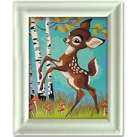miniature picture frame 'vintage deer' painting white