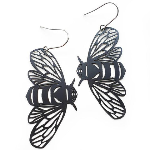 denz & co. earrings 'bee dangles' black