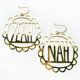 denz & co. earrings 'yeah nah dangles' gold