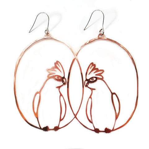 denz & co. earrings 'galah dangles' rose gold