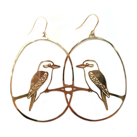 denz & co. earrings 'kookaburra dangles' gold