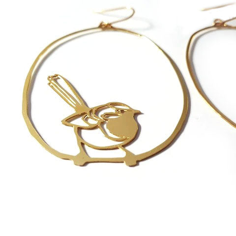denz & co. earrings 'fairy wren dangles' gold