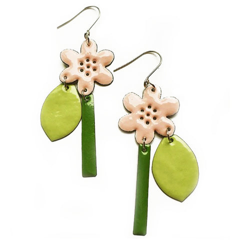denz & co. earrings copper enamel 'statement flower' pink & greens