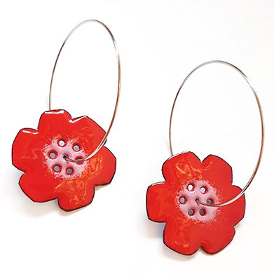 denz & co. earrings 'flower hoops' red