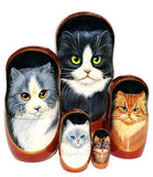 russian babushka dolls 5 set 'cats' large