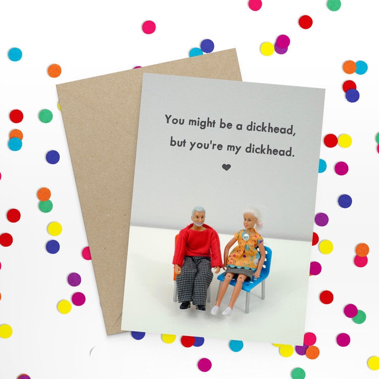 jeffrey & janice greeting card 'dickhead'