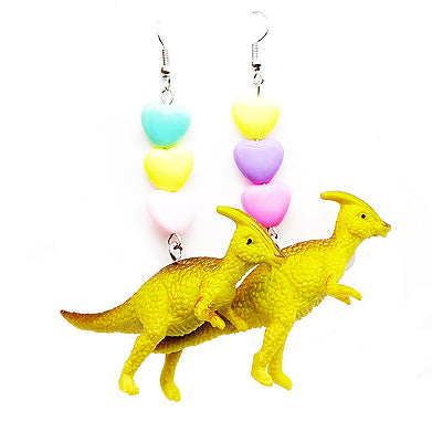 sugar earrings 'dino sarah saurolophus dangle hearts'