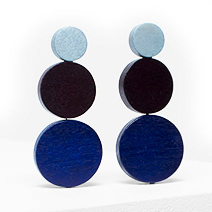 elk earrings 'dorf drop' mid grey, bordeaux & navy