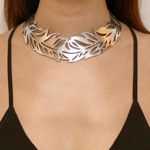 doury necklace 'feather collar' silver