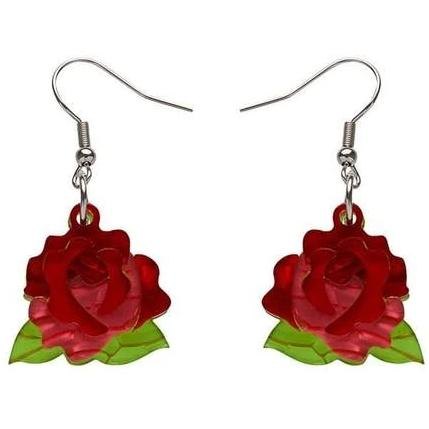 erstwilder earrings 'budding romance rose drops'