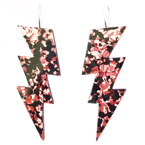 each to own earrings 'bolt drops' black & pink