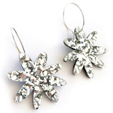 each to own earrings 'flora hoops' silver glitter