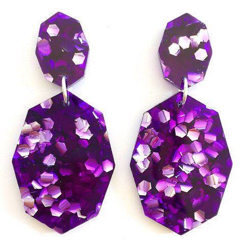 EACH TO OWN 'GEMSTAR DOUBLE DROP' EARRINGS AMETHYST