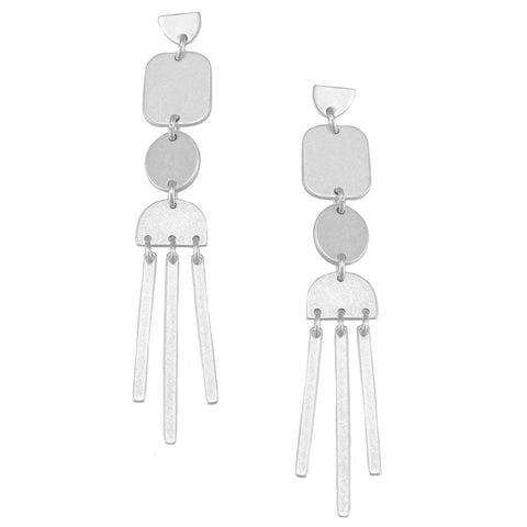 tiger tree earrings 'long wind chimes' silver