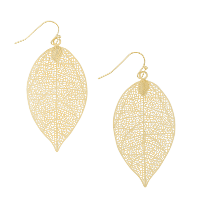 tiger tree earrings 'leaf' small gold