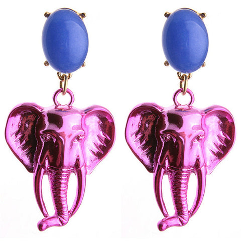 sugar earrings 'metallic elephant dangles' pink & purple
