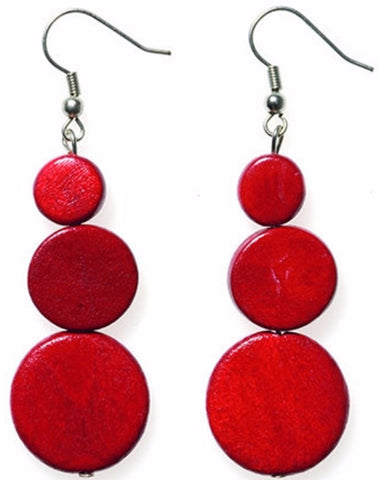 ELK '3 DISC' DROP EARRINGS RED